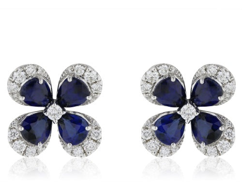 3.17ct Sapphire Diamond Flower Earrings