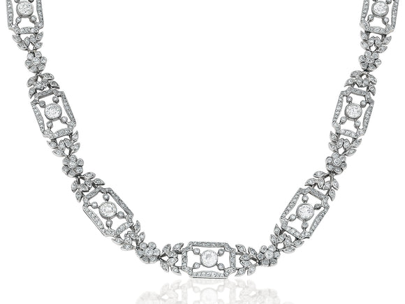 Vintage Style Diamond Filigree Necklace