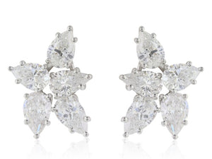 8.55ct Pear Shape Diamond Cluster Earrings