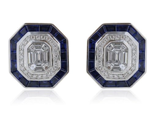 3.36 Carat Sapphire and 2.26 Carat Diamond Earrings