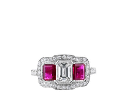 Emerald Diamond & Ruby Ring
