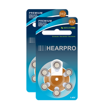 Load image into Gallery viewer, HEARPRO Size 312 Long-Lasting Hearing Aid Batteries 60 Pack - Mercury-Free - Zinc Air Technology - Made in USA - Plus Keychain Battery Case
