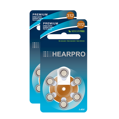HEARPRO Size 312 Long-Lasting Hearing Aid Batteries 120 Pack - Mercury-Free - Zinc Air Technology - Made in USA - Plus Keychain Battery Case