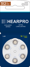 Load image into Gallery viewer, HEARPRO Size 312 Extra Long-Lasting Hearing Aid Batteries 60 Pack - Brown Easy Remove Tab - Mercury-Free - 1.45V Zinc Air Technology - Made in USA - Plus Keychain Battery Case