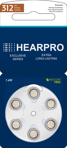 HEARPRO Size 312 Extra Long-Lasting Hearing Aid Batteries 60 Pack - Brown Easy Remove Tab - Mercury-Free - 1.45V Zinc Air Technology - Made in USA - Plus Keychain Battery Case