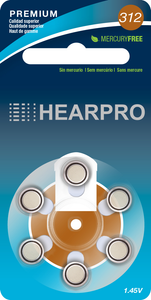 Hearing Aid Batteries 312 Single Unit 6 batteries Hearpro