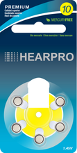 Load image into Gallery viewer, HEARPRO Size 10 Long-Lasting Hearing Aid Batteries 60 Pack - Mercury-Free - Zinc Air Technology - Made in USA - Plus Keychain Battery Case