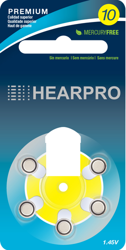 HEARPRO Size 10 Long-Lasting Hearing Aid Batteries 60 Pack - Mercury-Free - Zinc Air Technology - Made in USA - Plus Keychain Battery Case
