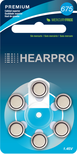 HEARPRO Size 675 Long-Lasting Hearing Aid Batteries 60 Pack - Mercury-Free - Zinc Air Technology - Made in USA - Plus Keychain Battery Case
