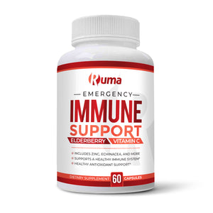 Ruma Immune Support - Immunity Booster Supplement - Vitamin C, Zinc, Elderberry, Echinacea, Garlic, Turmeric - Extra Strength Formula