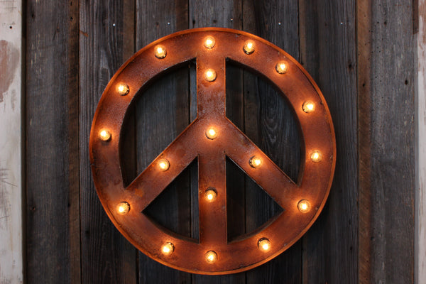 Marquee Peace Sign with Lights
