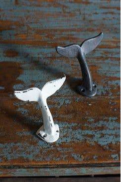 Metal Whale Tail Hook in Antiqued White Finish