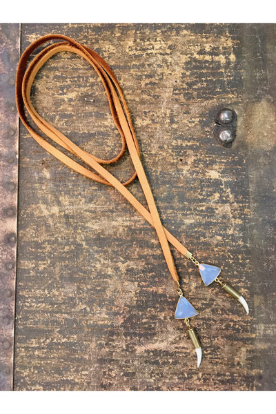 BLUE CHALCEDONY MOTHER OF PEARL LARIAT - FEATHER AND STONE FEATHER AND STONE