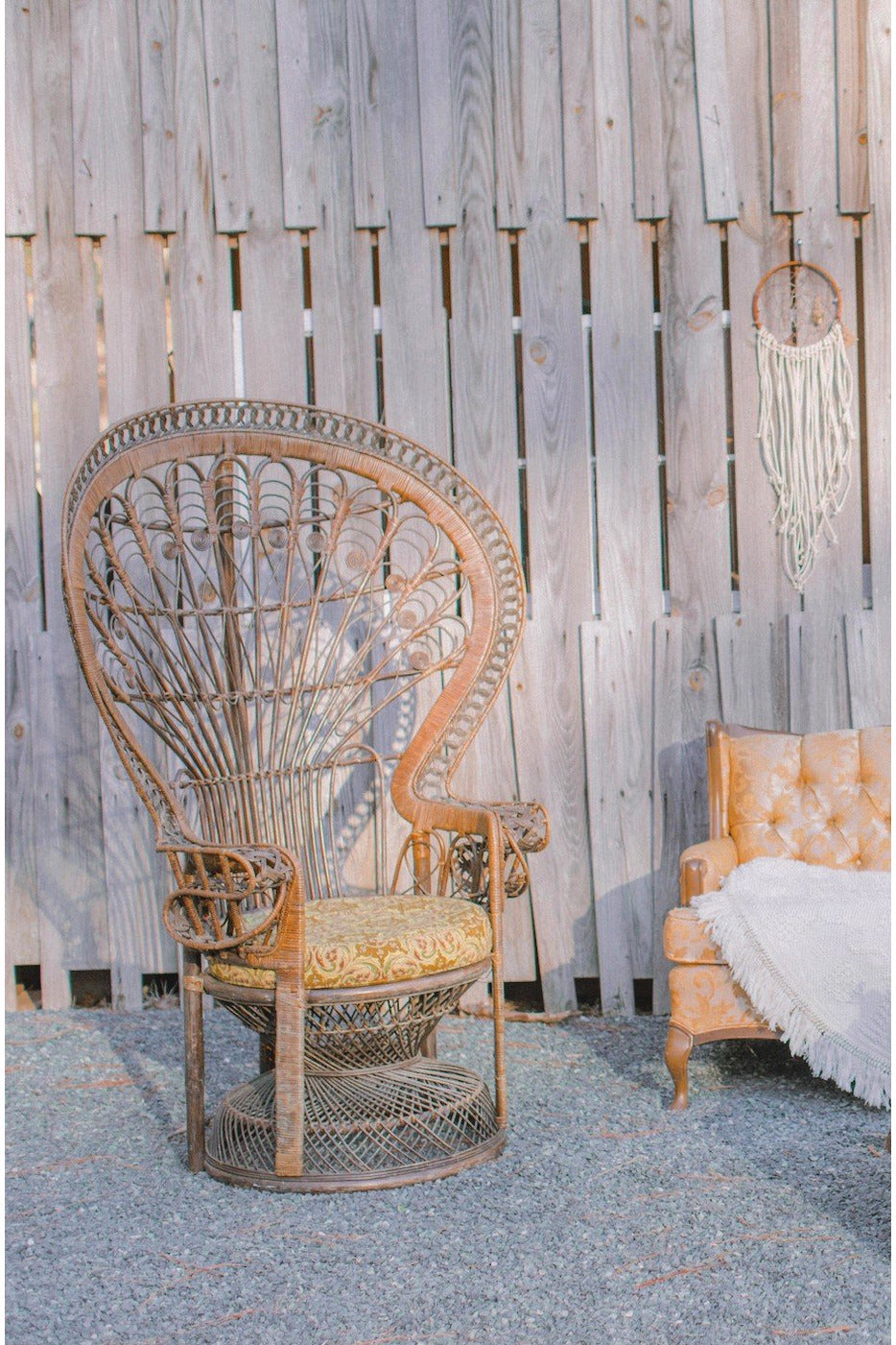 BROWN ORNATE PEACOCK CHAIR - RENTAL