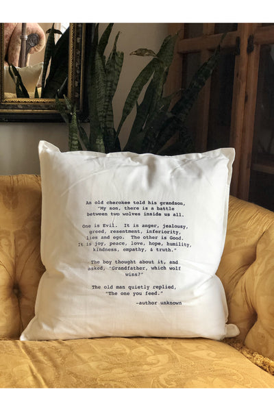 CHEROKEE WOLF QUOTE PILLOW Gypsy Jule