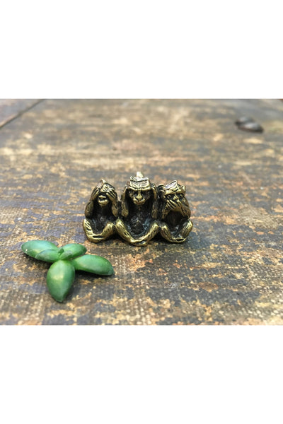 THREE WISE MONKEYS BRASS MONKEY PENDANT Gypsy Jule