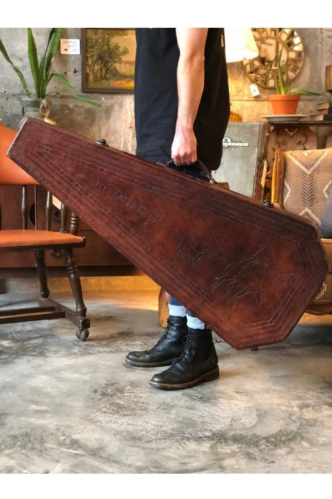 VINTAGE LEATHER COFFIN CASE - HANDTOOLED Gypsy Jule