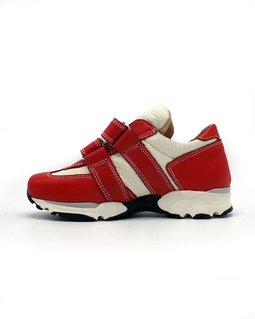 Red Leather Sneaker with Double-strap