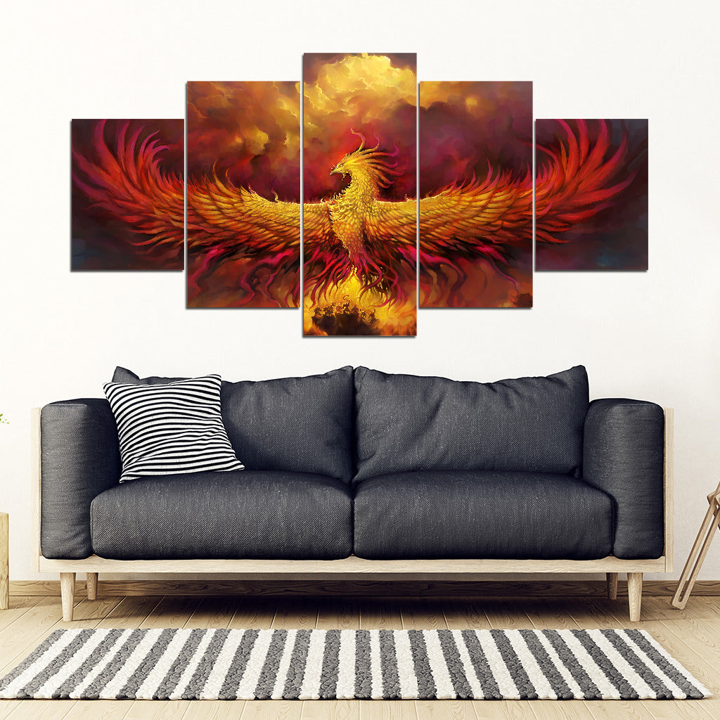 Phoenix Fire 5 Piece Framed Canvas