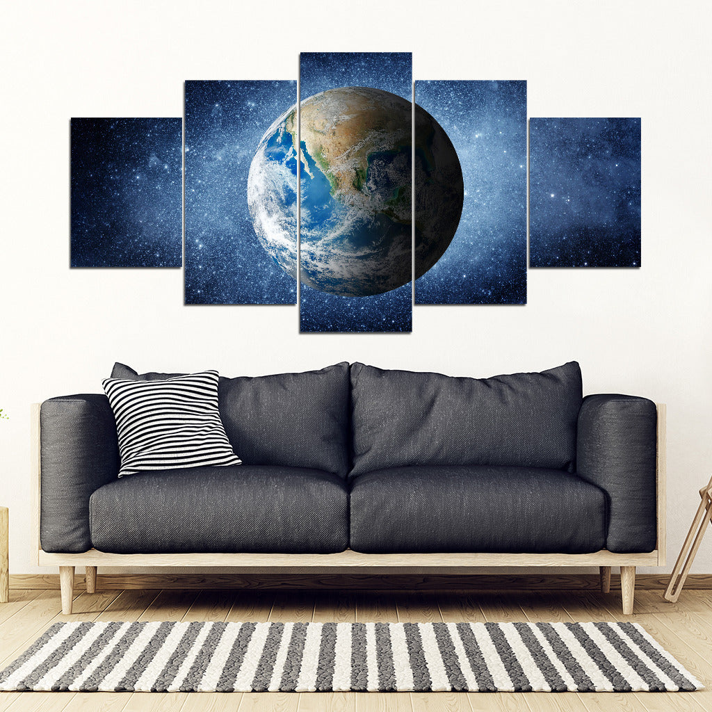 Earth Galaxy Universe Framed Canvas Wall Art - 5 Piece Framed Canvas
