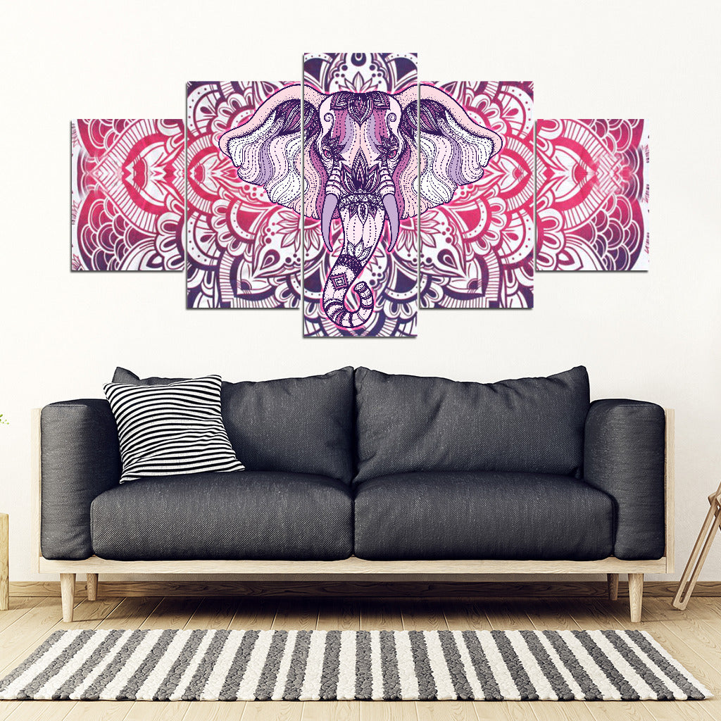 Elephant Mandala 5 Piece Framed Canvas Art