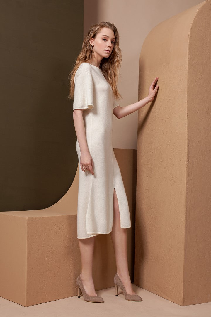 White Beige A-Line Short Sleeve Cashmere Dress