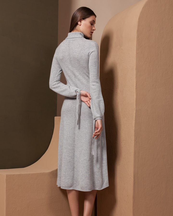 Long Sleeve, Turtleneck Cashmere Dress