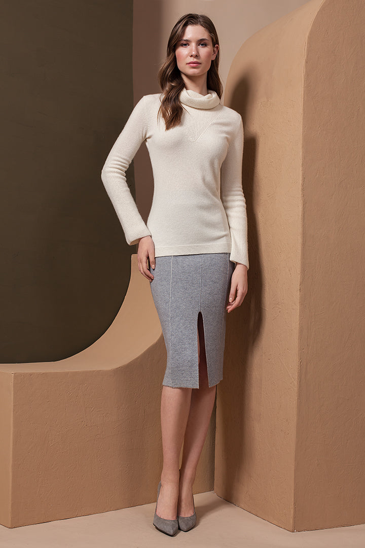 Knee Length Cashmere Skirt