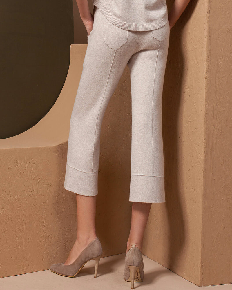 Cropped Cashmere Pants with Wide End