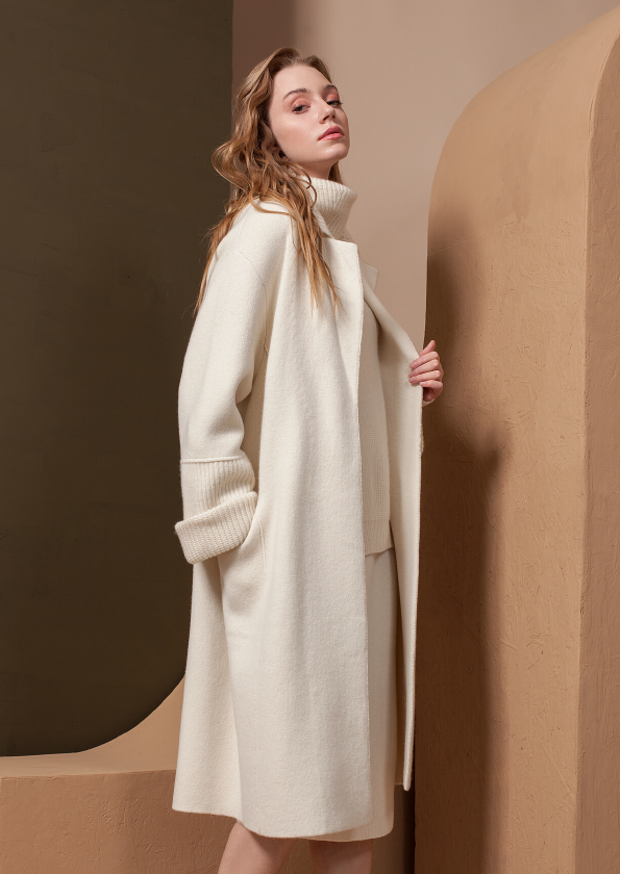 Cashmere Coat with Folded Neckline