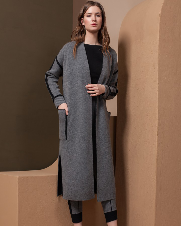 Two Toned Free Size Cashmere Coat with Pockets