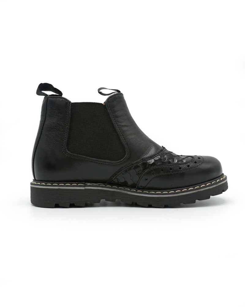 Slip on Oxford Style Leather Boots