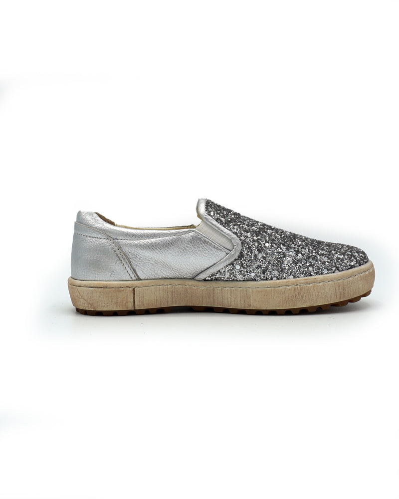 Sparkly Slip-on Leather Loafers for Kids