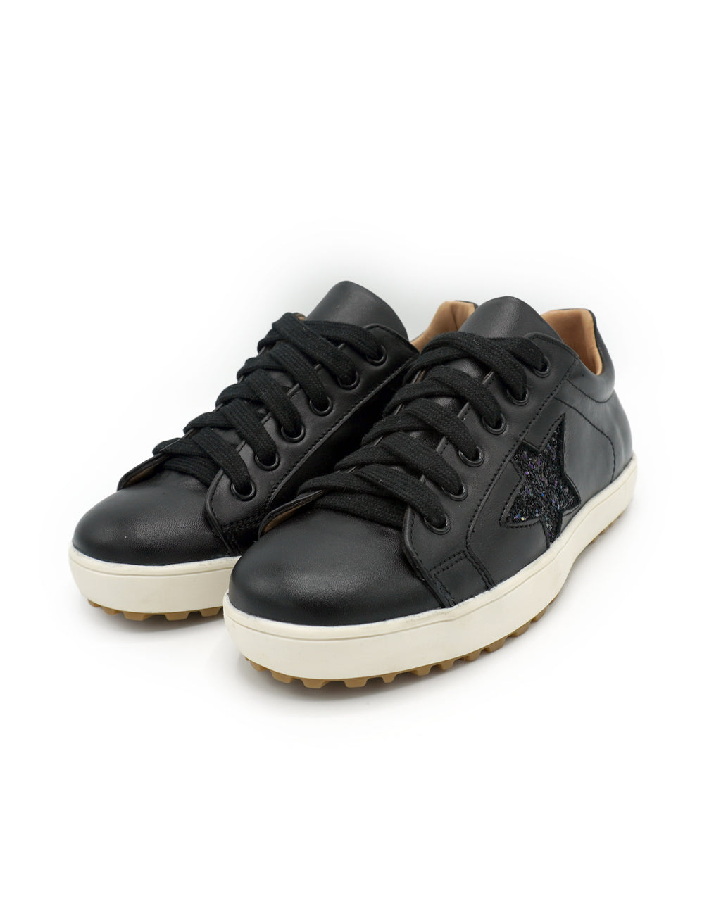Black Leather Sneaker with Glitter Star