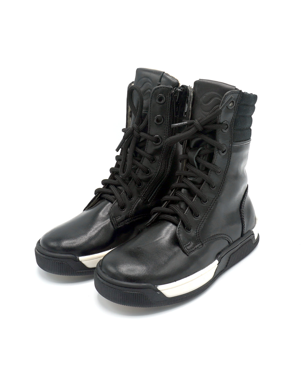 Lace-up Leather Ankle Boots with Zipper