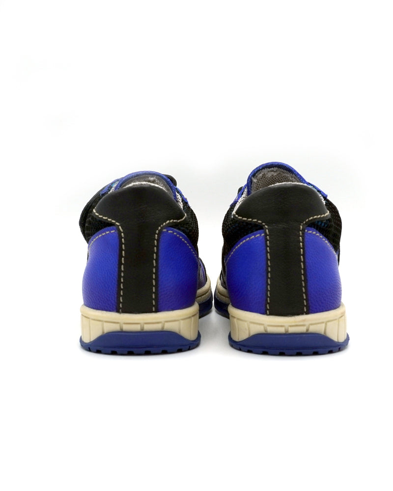 Blue Leather Shoes with Double-straps for Toddlers
