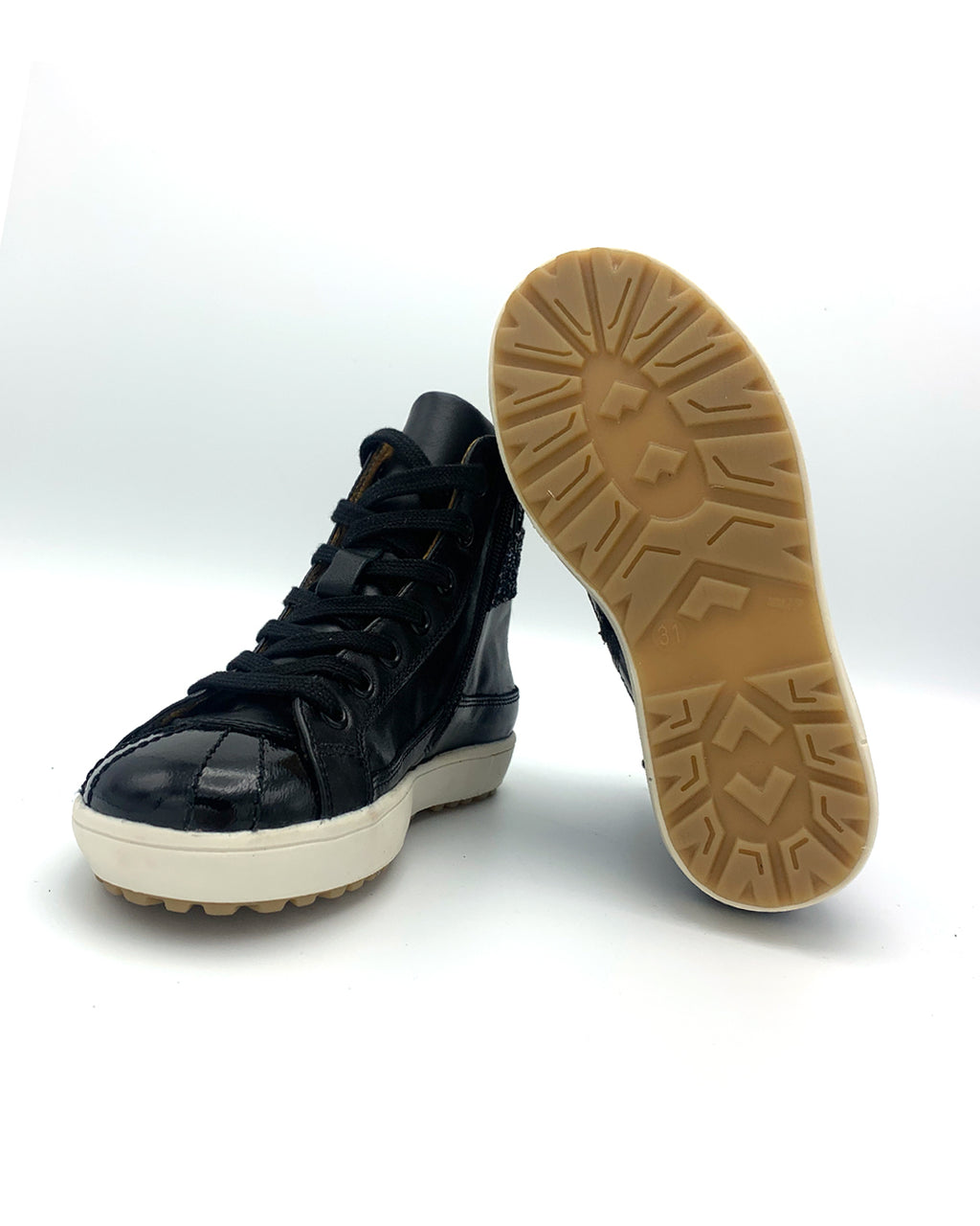 Black Ankle Length Leather Sneaker