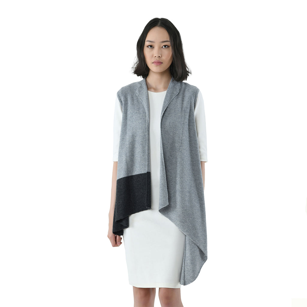 Asymmetrical Sleeveless Cashmere Cardigan
