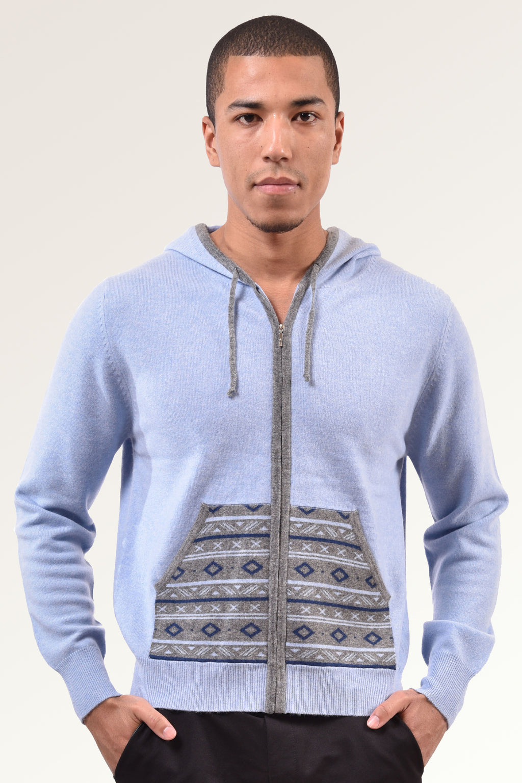 Men`s Hooded Cashmere Sweater with Zipper