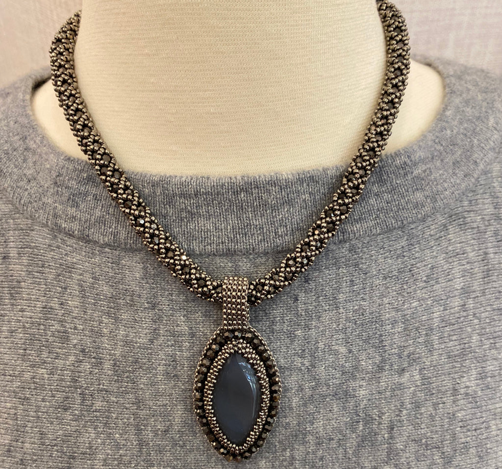 Grey Handmade Necklace with Stone Pendant