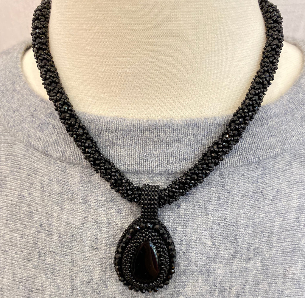 Black Handmade Necklace with Stone Pendant