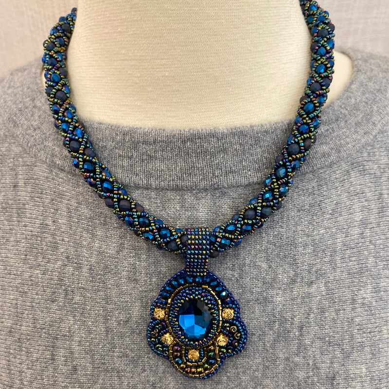 Crystal Blue Handmade Necklace with Stone Pendant