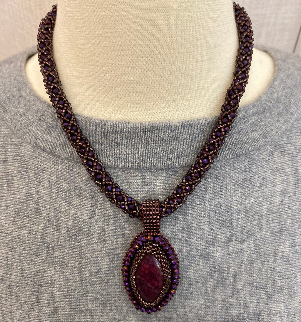Purple Handmade Necklace with Stone Pendant