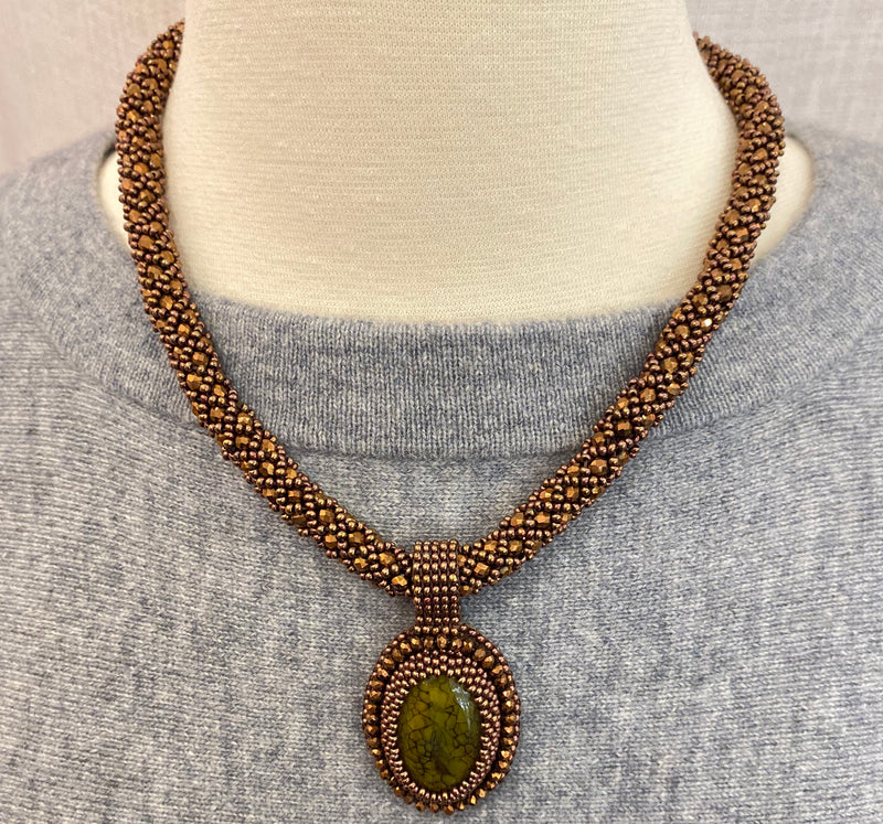 Brown Handmade Necklace with Stone Pendant