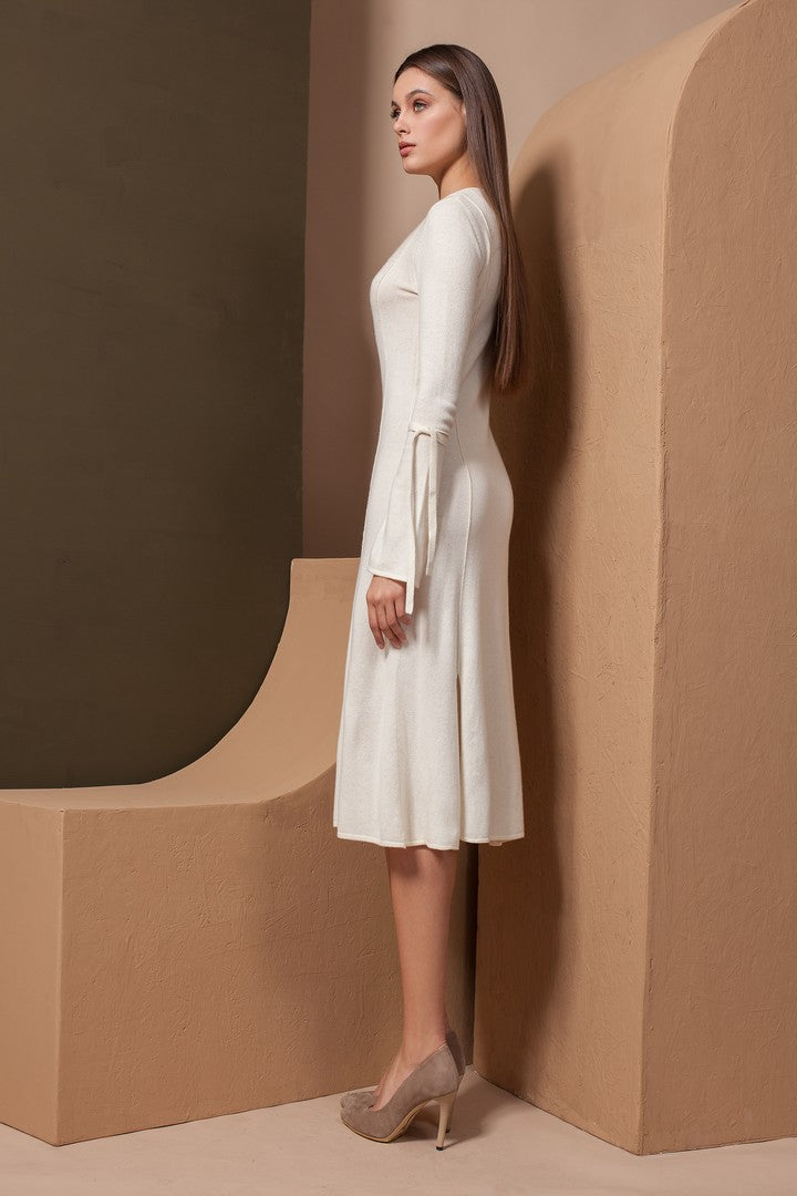Cashmere Dress with Long Ribbon Tie Sleeves