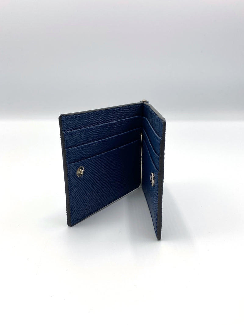 Genuine Leather Blue Wallet with Button