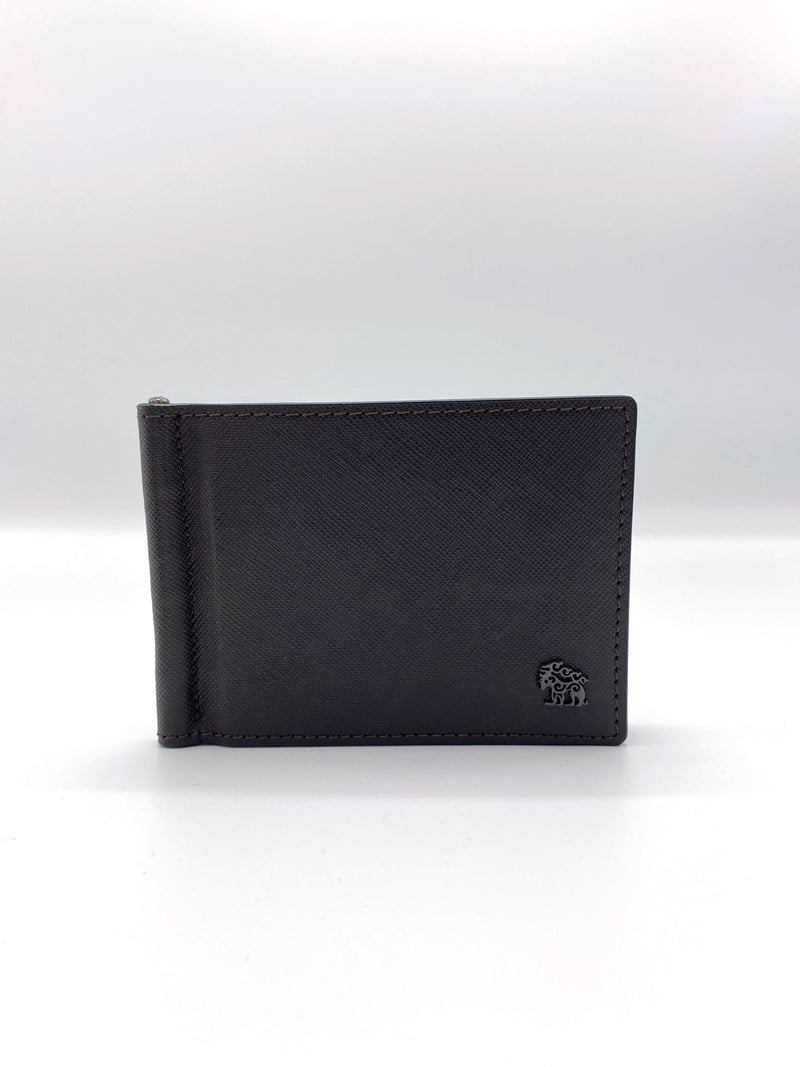 Genuine Leather Dark Brown Wallet with Button
