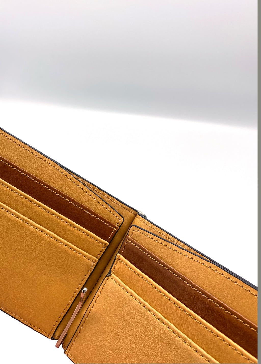 Genuine Leather Light Brown Wallet with Clip