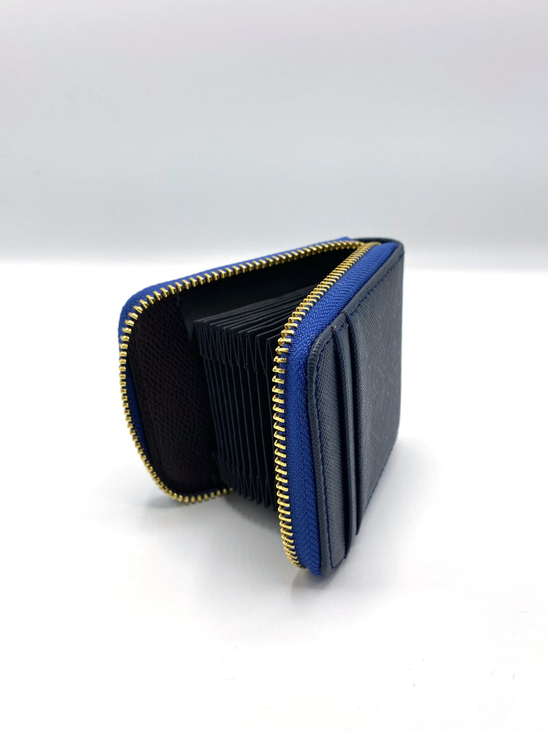 Blue Leather Cardholder with Zipper