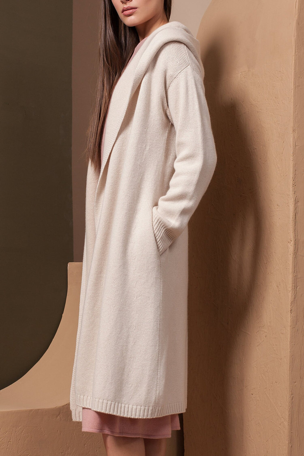 Hooded Long Cashmere Cardigan